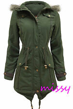 NEW Womens OVERSIZED HOOD PARKA Ladies JACKET COAT FISHTAIL Size 8 10 12 14 16AL