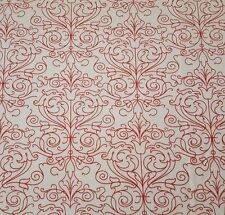 "1 Yd 24"" Christmas Dreams Ivy Lane Quilting Treasures Red White Damask Scrolls"
