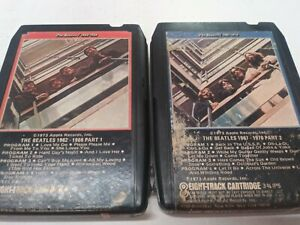 The Beatles 1962-1966 & 1967-1970 Parts 1 & 2 Vintage 8-Track Tapes VG