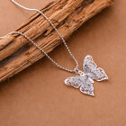 Women Lady Girl 925 Sterling Silver Plated Butterfly Necklace Pendant Jewelry