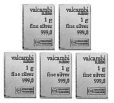 Lot Of 5 - Valcambi Silver 1 Gram Suisse Bar .999 Fine Silver
