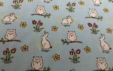 CUTE RABBIT BUNNIES OWL BABY BOY BLUE 100% cotton poplin fabric by the metre