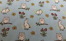CUTE RABBIT BUNNIES OWL BABY BOY BLUE 100% cotton poplin fabric by the metre