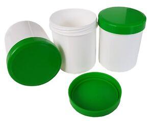 Salbenkruken, Kunststoffdosen, Salbendosen, Cremedosen m. grünem Deckel, leer