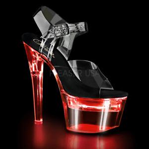 """Pleaser 7"""" black strap light up stripper shoes"""