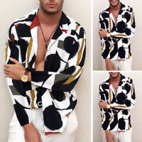 Fashion Mens Long Sleeve Floral Dress Shirts Loose Casual Streetwear Blouse Tops