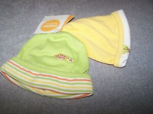 NWT 2 Gymboree Yellow/Green Owls Design Reversible Beanies Preemie Up to 5 lbs