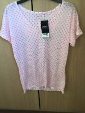 Bnwt Next White Pink Polka Dot Linen T Shirt Sz 8