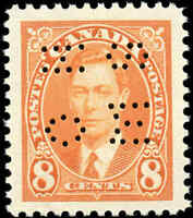 1937 Mint H Canada VF Scott #O236 8c Perforated KGVI Issue Stamp