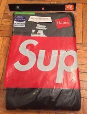 SUPREME SHIRTS: BRAND NEW Hanes Men's Size M 3-Pack Tagless Tees Black, Box Logo