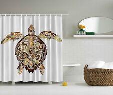 Paisley Pattern Shower Curtain Sea-Life Turtle Tortoise Beach Bathroom Decor