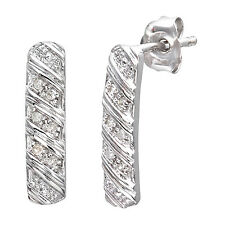 Naava 9ct White Gold 0.05ct Striped Diamond Earrings - (PE3137W)