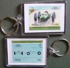 1960 COOPER CLIMAX Car Stamp Keyring (Auto 100 Automobile)