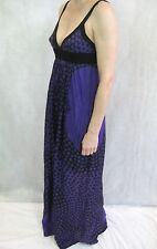 Scanlan & Theodore Size 10 Purple Black Polkadot Silk Maxi Dress