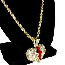 "Broken Heart Pendant Chain Heartbroken Charm Gold Finish 24"" Inch Rope Necklace"