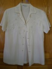 VTG PEONY Chinese Hand Embroidered IVORY 100%  SILK Blouse Shirt Sz 32 GORGEOUS