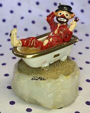 1987 Ron Lee Clown Figurine Bath Tub Smoking Cigar Brush Thermal Underwear Onyx