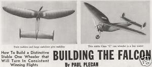 "Model Airplane Plans (FF): Vintage Falcon 60"" OT Class 'C' by Paul Plecan (1940)"