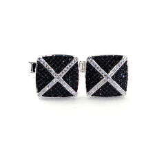 VERY NICE SOLID REAL 925 STERLING SILVER BLACK CUBIC ZIRCONIA CUFFLINKS