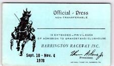 1978 HARRINGTON RACEWAY DELAWARE OFFICIAL PRESS PASS*HORSE RACING*CLUBHOUSE*BLUE