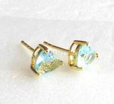 14K Yellow Gold Plated Aqua Blue Simulated Diamond Men Girl Stud Earrings 6mm