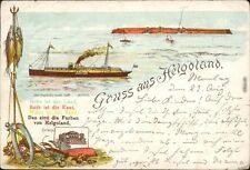 Ansichtskarte Helgoland (Insel) Litho Ak: Dampfer. Insel und Hotel 1897