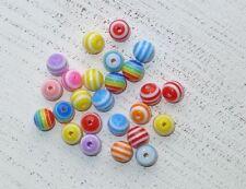 100 bunte Acryl Perlen 8 mm Streifenmuster Engel basteln A1113