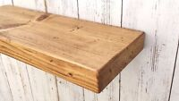Solid wood floating Mantel shelf rustic with concealed Shelf Brackets wooden