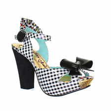 IRREGULAR CHOICE Houndstooth Plaid Bow Chunky Wedges HIGH HEEL Women Shoes Sz 10