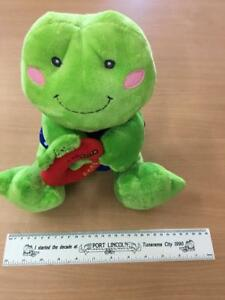 """Russ """"frog in blue top with red rattle"""" baby soft toy @ $39ea"""