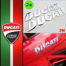 DUCATI Chrome Metallic Silver Sticker Logo Adhesive Adesivo Decal 3D Tank Moto