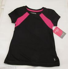Girls Danskin Active Poly Shirt Black with Pink XS 4-5