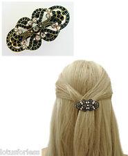 hbVintage Art Deco Design Barrette Hair Clip Grip Jet Black Diamante Gold Tone
