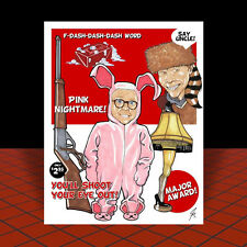 """New """"A CHRISTMAS STORY"""" artist signed POSTER ART, leg lamp & red ryder air rifle"""