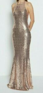 SIZE 8 CHAMPAGNE SEQUIN SEXY BOW LOW BACK DRESS ORIGINALLY £149
