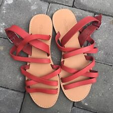 NEW Madewell The Boardwalk Red Multi-Strap Leather Sandals G2006 Women's Size 9
