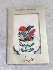 Vintage Neil Souvenir Embroidered Australian Wildflowers Handkerchief Nib