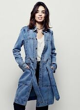 Free People Denim Dress Coat Button Front Belted  M NWT
