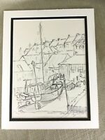 Original Pen & Ink Sketch Drawing Fishing Boats Dock Harbor Coastal Scene RARE