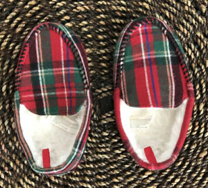 Gymboree Plaid Mocassin Style Slippers Toddler Boys Size 9-10 Gymmies Holiday