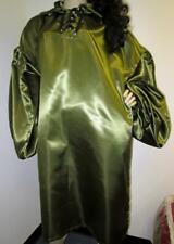 Vintage: Satin! High Gloss Olive Bridal Satin Balloon Shirt Gown