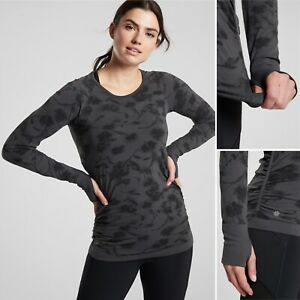 NWT Athleta Speedlight City Bloom Top XS Black Breathable Fitted Hem Grippers