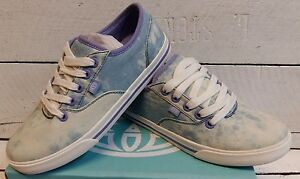 Ladies Animal Chambray Purple/Blue Canvas Lace Up Shoes
