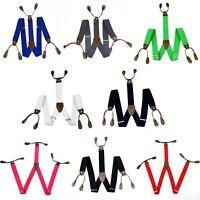 Men Unisex Braces Suspenders Adjustable Elasticated 6 Button Holes Y-Shape