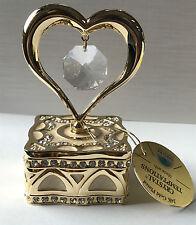 Joyero corazón con Swarowski CRISTALES equipado Chapado Decoración Joyero