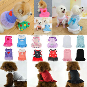 Pet Bow Lace Dress Skirt Puppy Cat Small Girl Dog Wedding Clothes Princess New