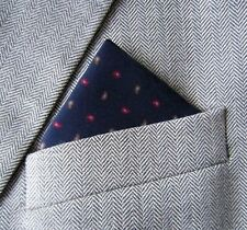 SUPERNOVA SCARVES Navy Paisley Silk Pocket Square Handkerchief Mod Indie Suit