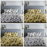 Fusion Geo Geometric Easy Care Duvet Cover Bedding Set Grey Or Ochre