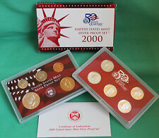 2000 United States Mint ANNUAL 10 Coin SILVER Proof Set Free Shipping in the USA