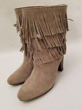Joie Rockafella Urban Cowgirl Triple Fringe Beige Suede Heels Boots Sz 38.5 New